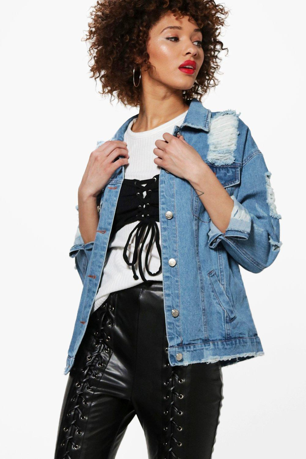 4a32a306a55 Alex Oversize Distressed Denim Jacket. Hover to zoom