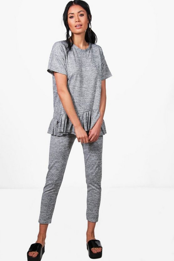 Womens Grey Leah Ruffle Knitted Lounge Set