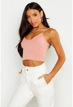 Womens Rose Basic Ribbed Bralet
