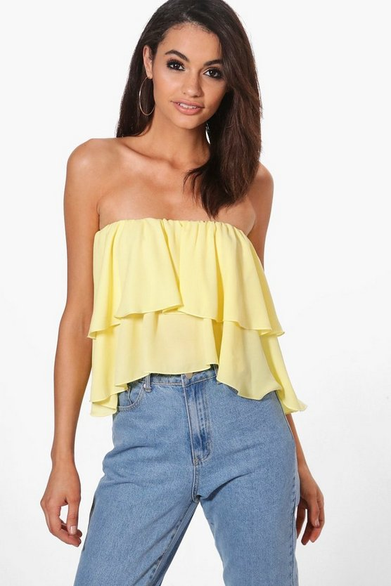 Jade Off The Shoulder Woven Ruffle Bandeau Crop