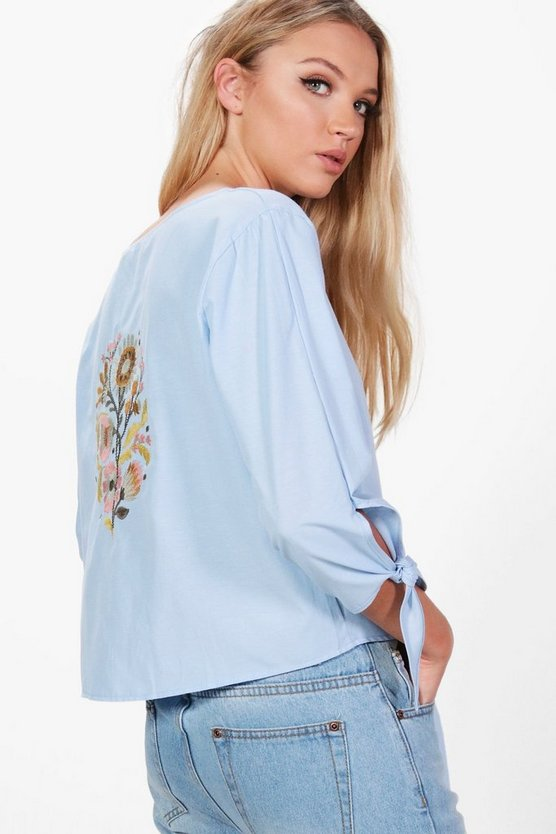 Anna Embroidered Back Tie Front Blouse