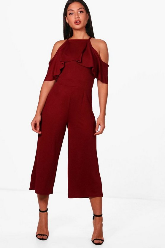 Open Shoulder Frill Detail Culotte Jumpsuit