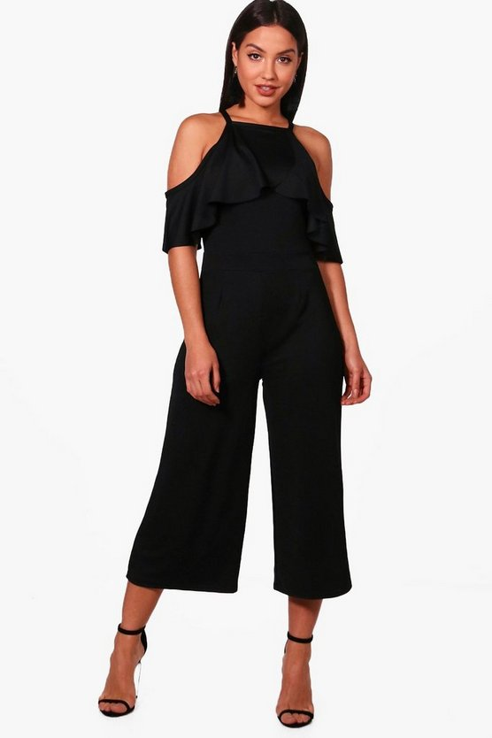 Womens Black Open Shoulder Frill Detail Culotte Jumpsuit