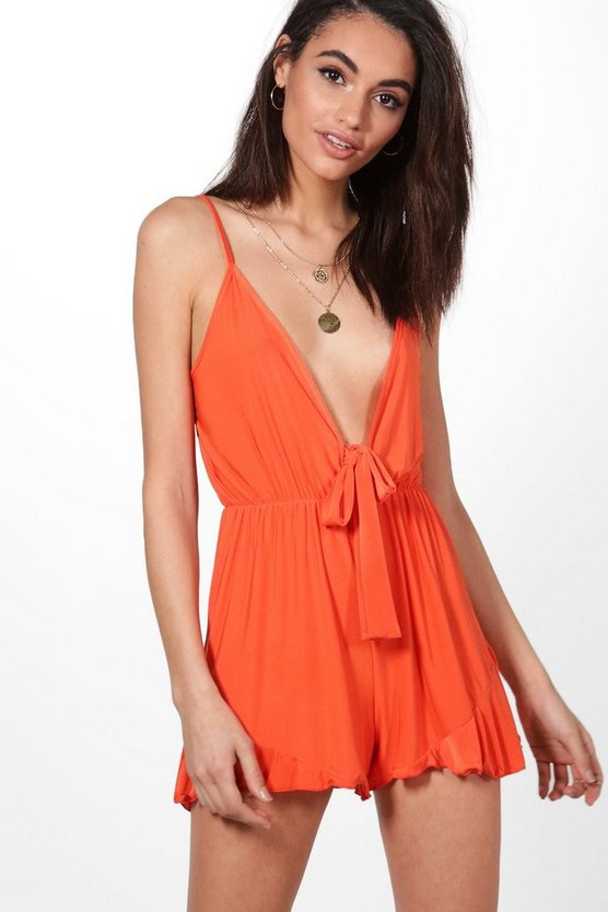 Plunge Tie Front Strappy Playsuit