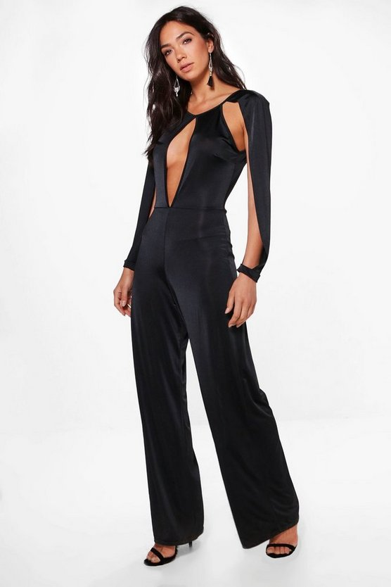 Split Sleeve Plunge Wide Leg Jumpsuit
