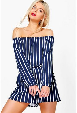 Womens Navy Striped Off The Shoulder Playsuit