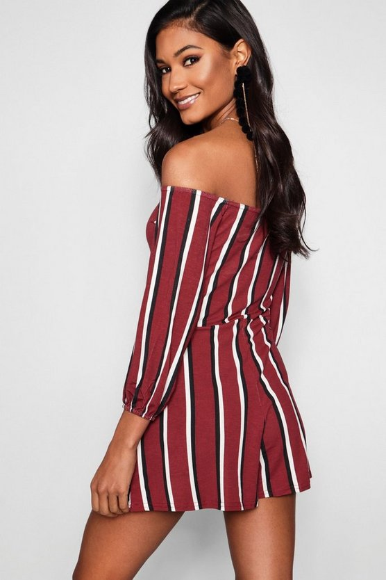 Striped Off The Shoulder Playsuit