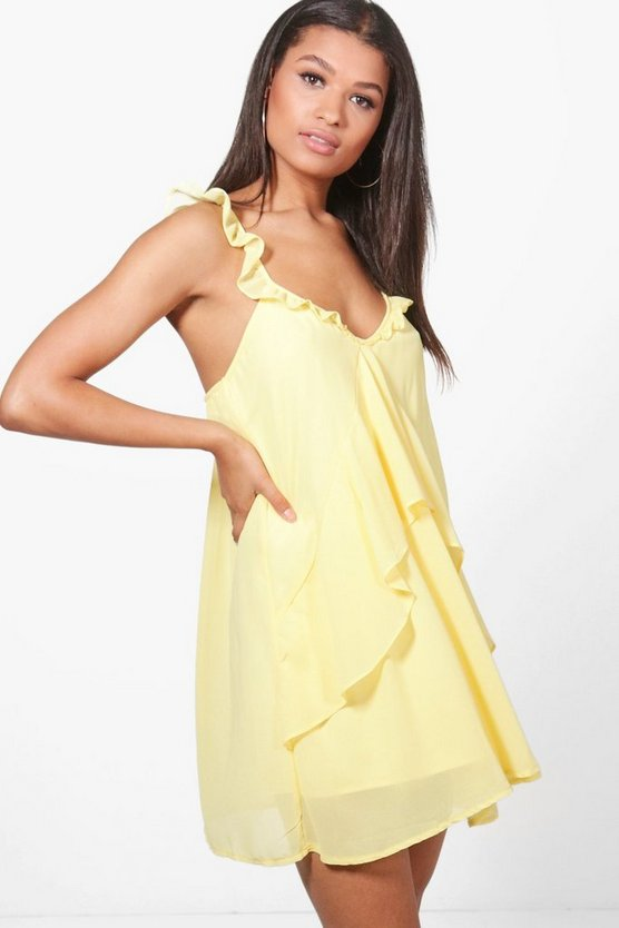 Frill Detail Chiffon Swing Dress