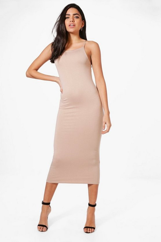 Womens Sand Sophie Strappy Bodycon Midaxi Dress