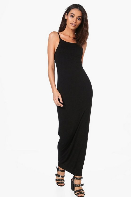 Black Han Double Layer Strappy Bodycon Maxi Dress