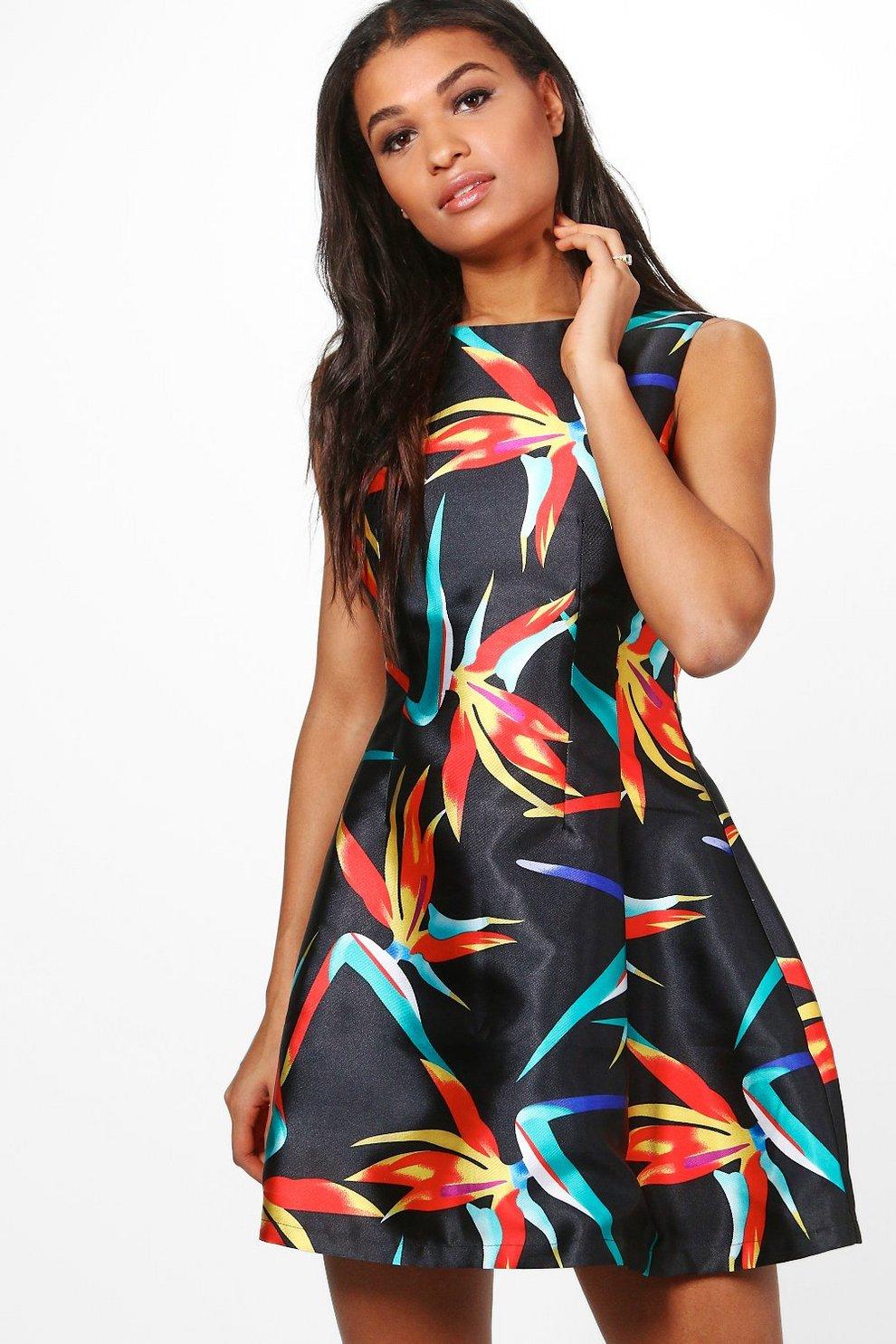 639ef32b017 Satin Tropical Print Skater Dress