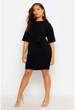 Womens Black Structured Tie Belt Waist Shift Dress