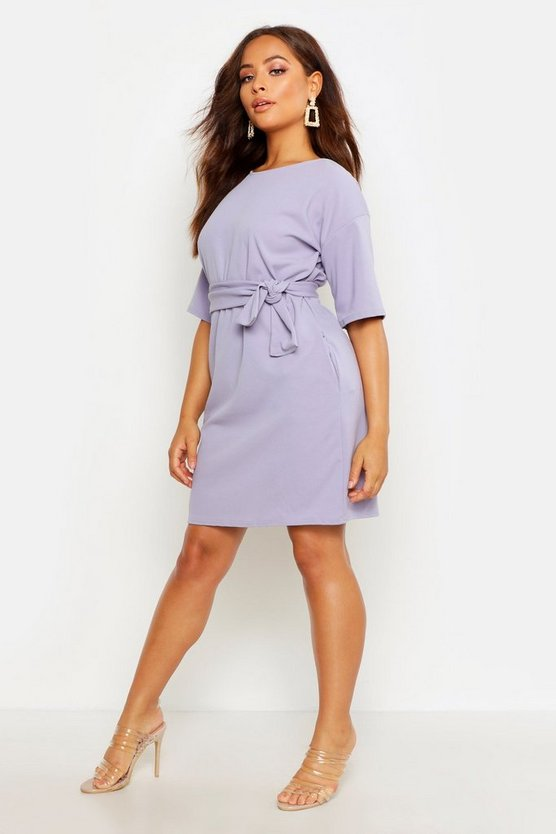 Ice Structured Tie Belt Waist Shift Dress