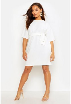 Ivory Structured Tie Belt Waist Shift Dress