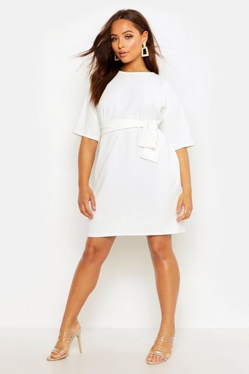Womens Ivory Structured Tie Belt Waist Shift Dress