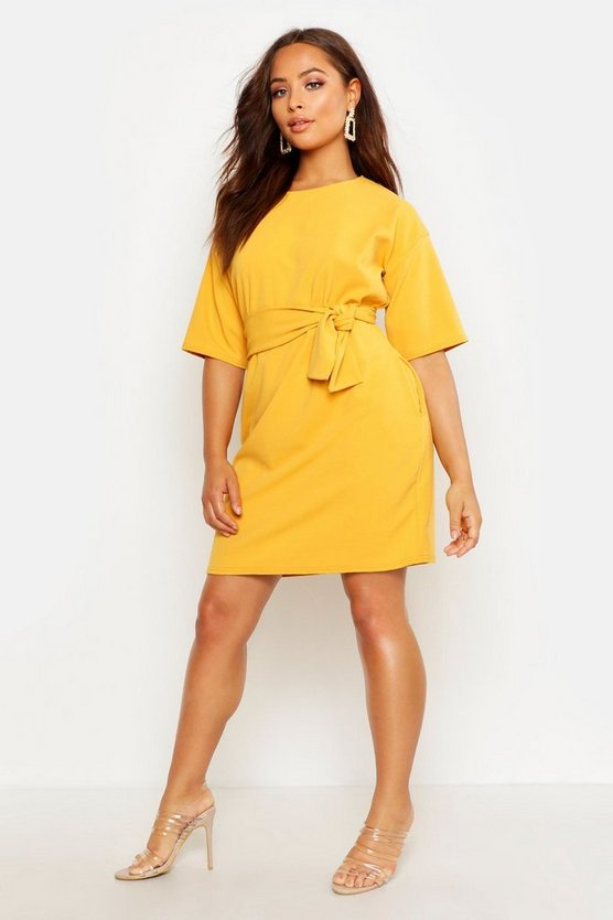 Mustard Structured Tie Belt Waist Shift Dress