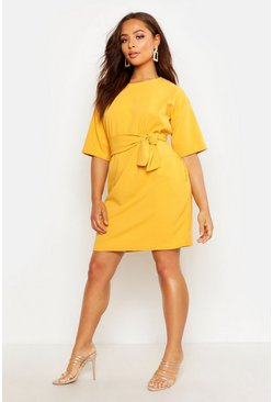 Womens Mustard Structured Tie Belt Waist Shift Dress