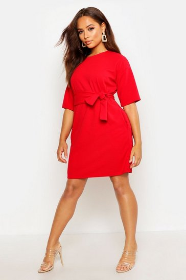 Womens Red Structured Tie Belt Waist Shift Dress