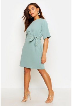 Sage Structured Tie Belt Waist Shift Dress