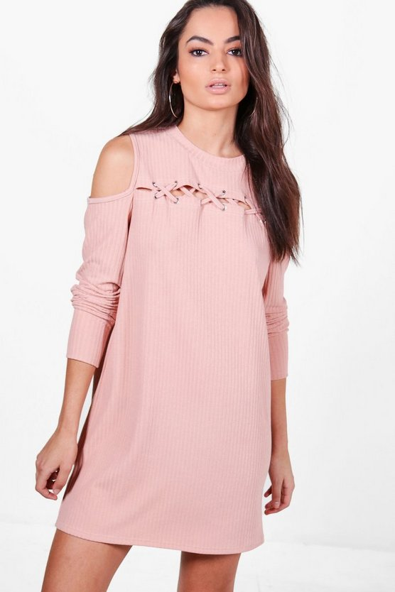Abbey Lace Up Cold Shoulder Rib Knit Dress