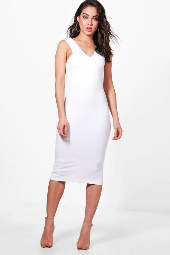 Cutaway Neck Midi Bodycon Dress