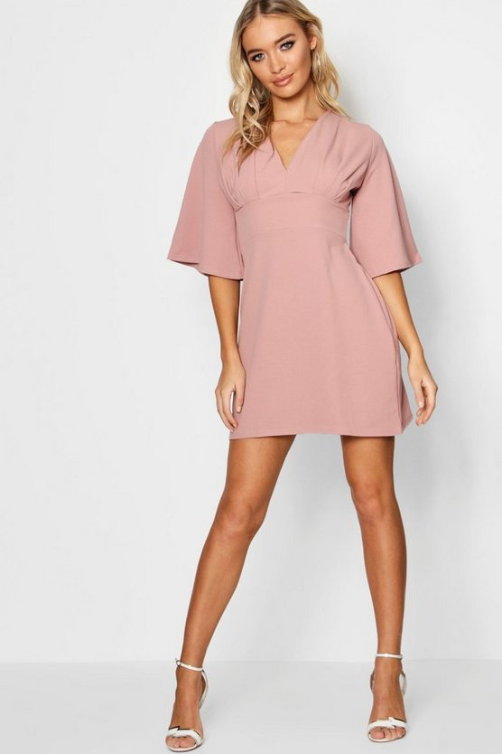 Pleat Top Kimono Sleeve Skater Dress