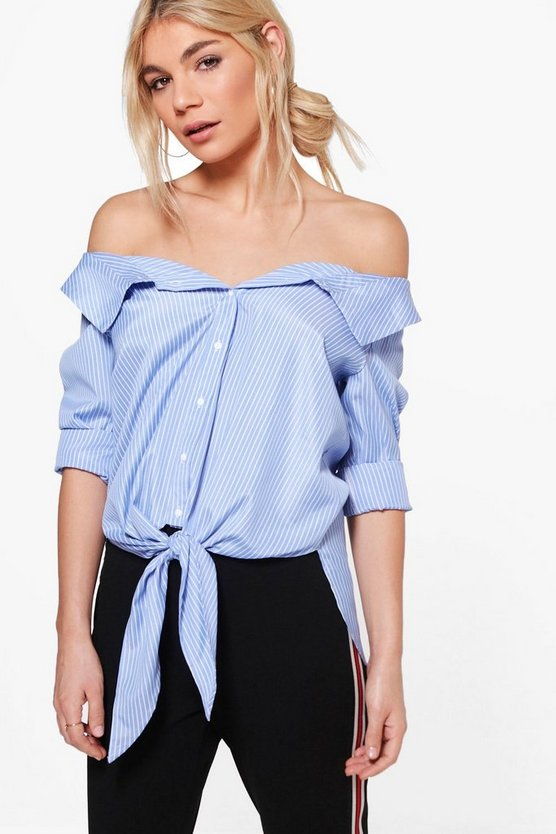 Julia Off The Shoulder Pinstripe Tie Shirt