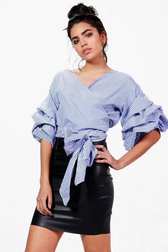 Karina Ruffle Sleeve Stripe Wrap Shirt