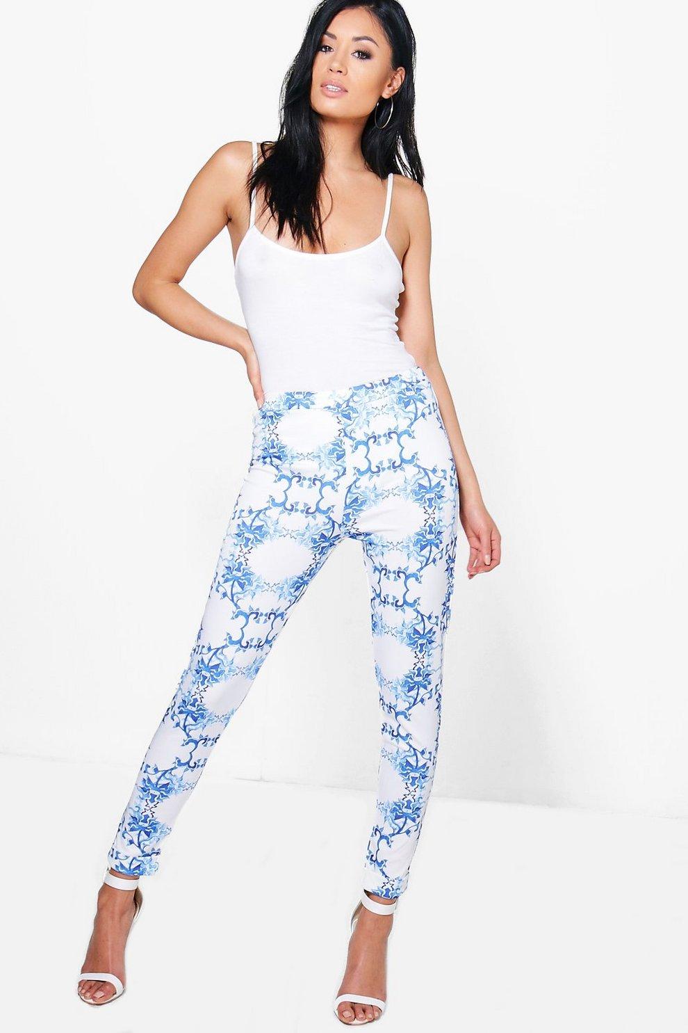 prya pantaloni skinny elasticizzati a motivi floreali  f2cbb956a2e1