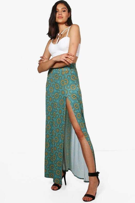 Dallas Bohemian Print Floor Sweeping Split Maxi