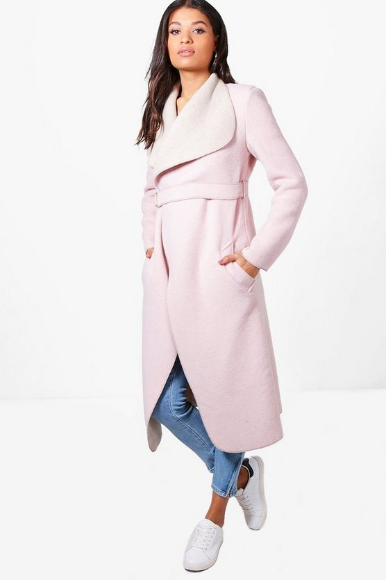 Lucy Contrast Wool Coat With D-Ring Fasten