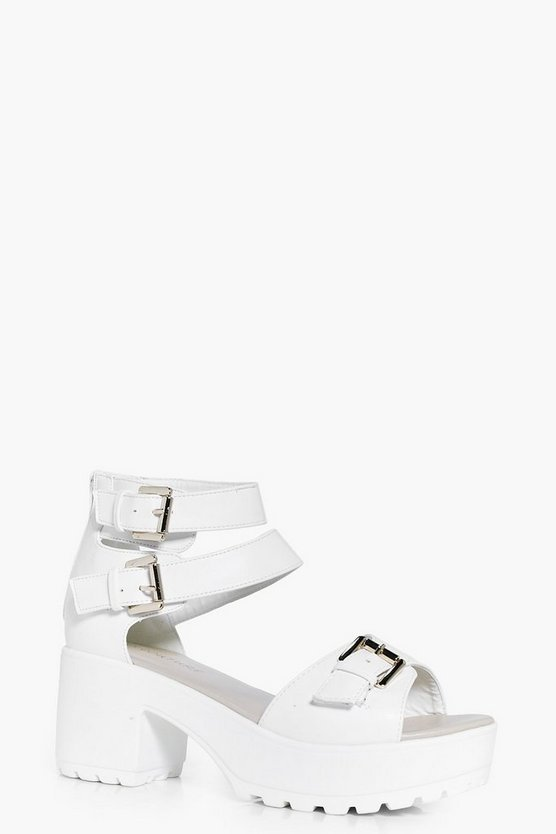 Womens White Imogen Buckle Trim Cleated Peeptoe Sandal