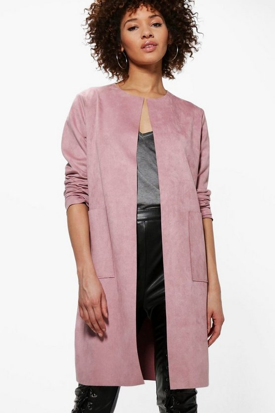 Sarah Suedette Edge To Edge Jacket