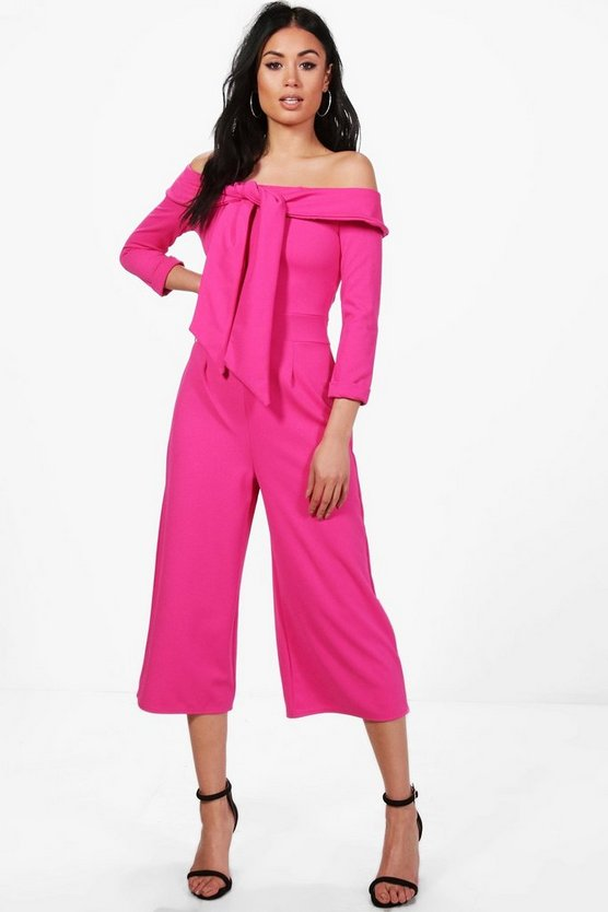 Tie Front Off The Shoulder Culotte Jumpsuit
