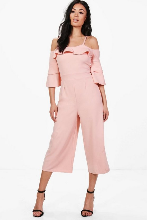 Ruffle Cut Shoulder Culotte Jumpsuit