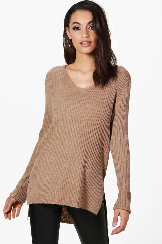 Lisa Fine Knit V-Neck Side Split Jumper