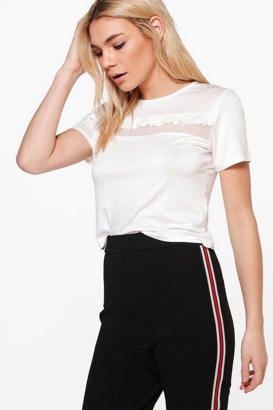 Hollie Mesh Panel Ruffle T Shirt Crop