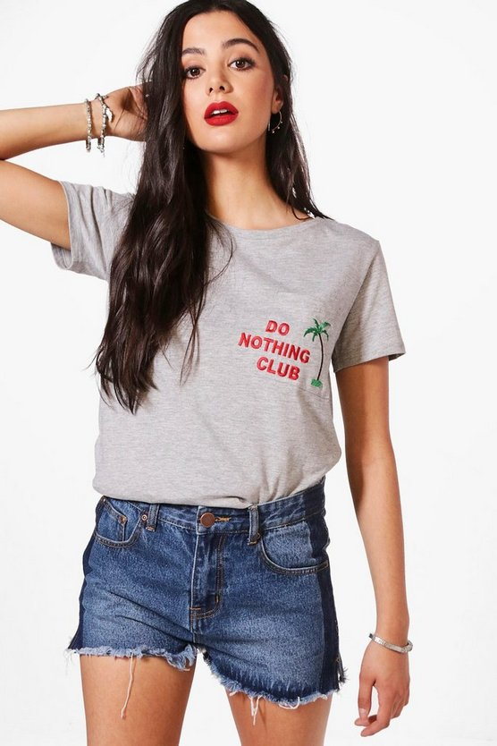 Anna Do Nothing Club Embroidered Tee