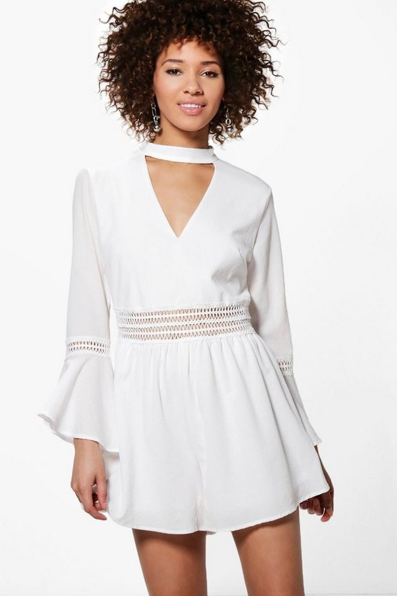 Jen Crochet Trim Flare Sleeve Choker Playsuit