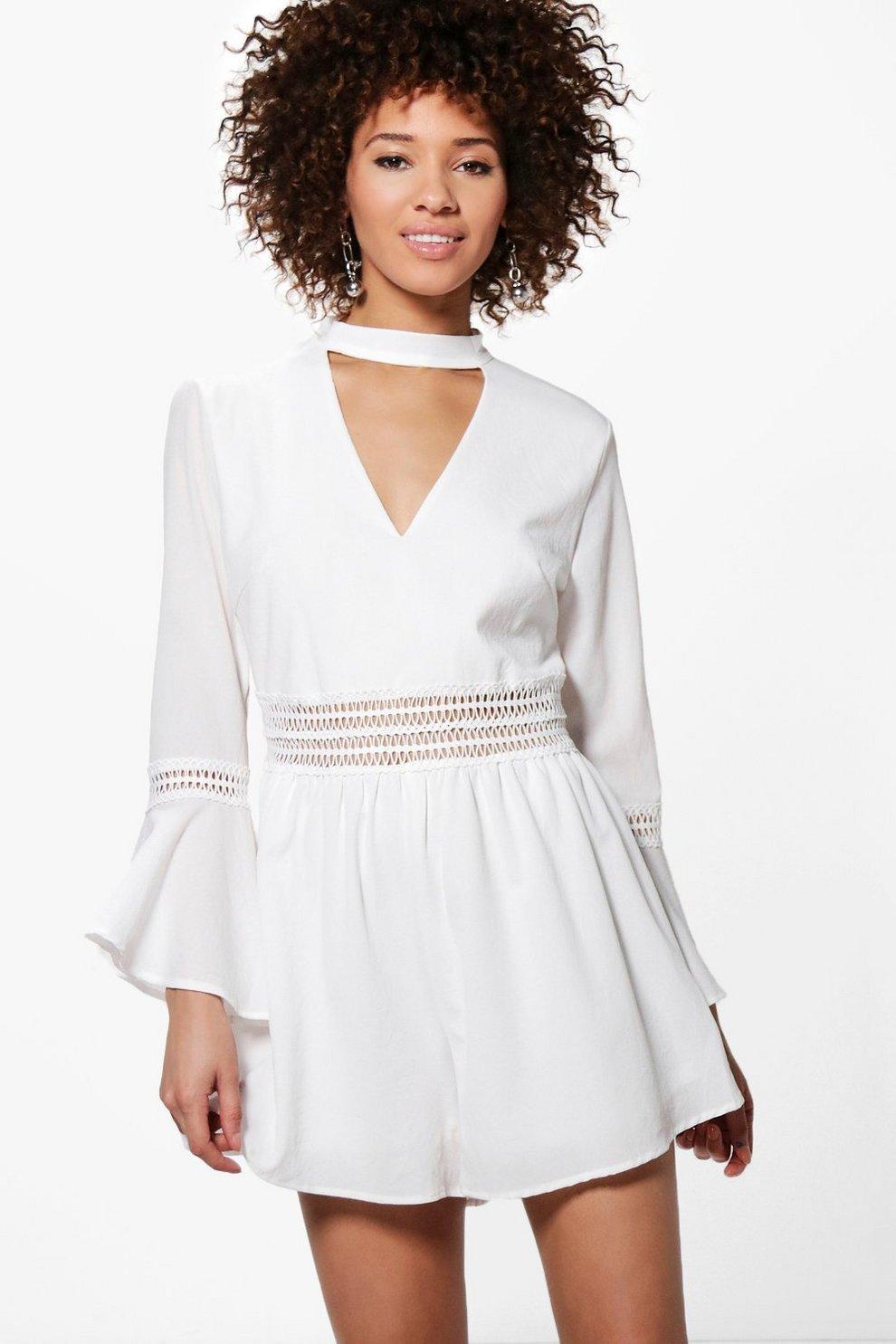 d34c0598dd64f Womens White Jen Crochet Trim Flare Sleeve Choker Playsuit