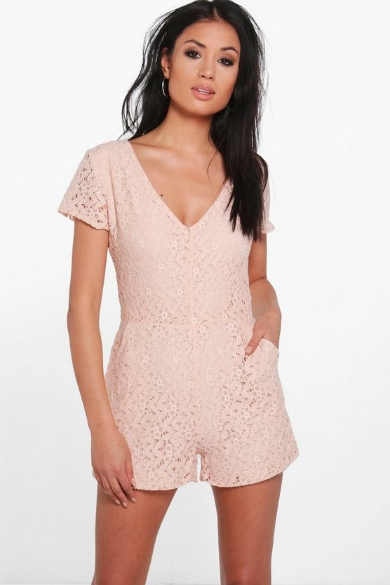 V Neck All Over Lace Playsuit