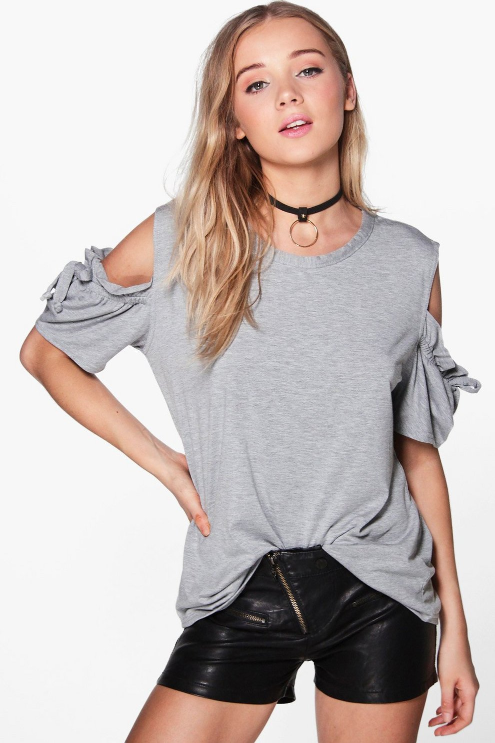 385b7852644 Womens Grey marl Hannah Ruffle Sleeve Cold Shoulder T-Shirt. Hover to zoom