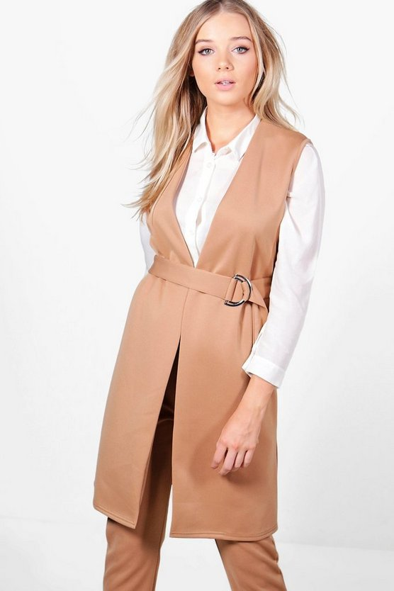 Aimee Belted D-Ring Sleeveless Duster