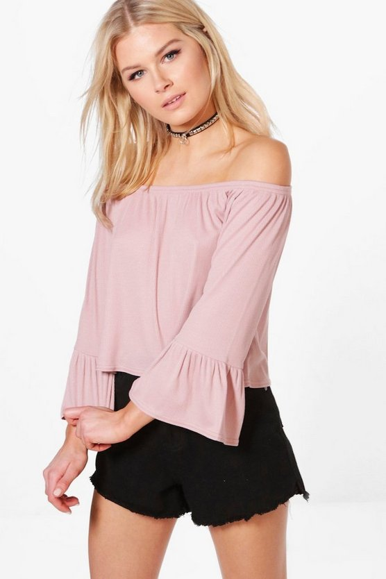 Madison Off Shoulder Fitted Sleeve Top