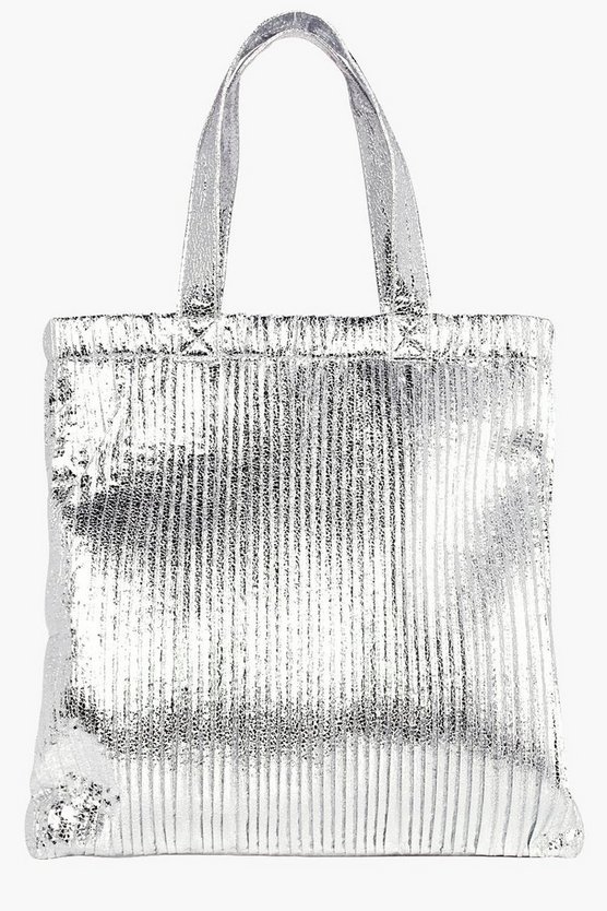 Aleena Plisse Effect Metallic Shopper Bag
