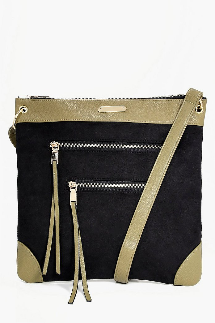 366ee601a4dbeb Orla Zip Detail Messenger Day Bag | Boohoo
