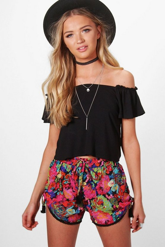 Louise Floral Print Tassel Trim Runner Shorts