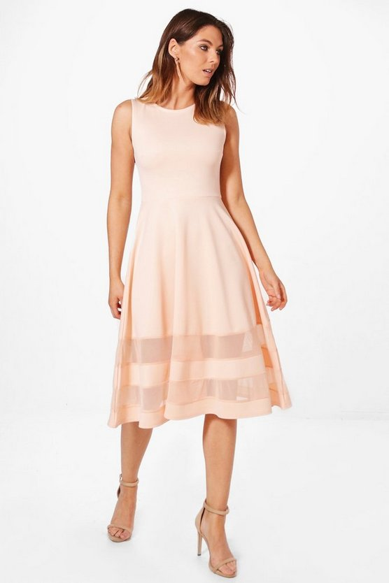 Mesh Insert Hem  Midi Skater Dress