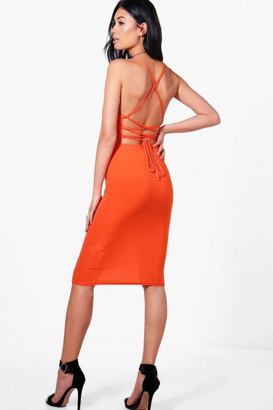 Emilia Open Back Midi Bodycon Dress