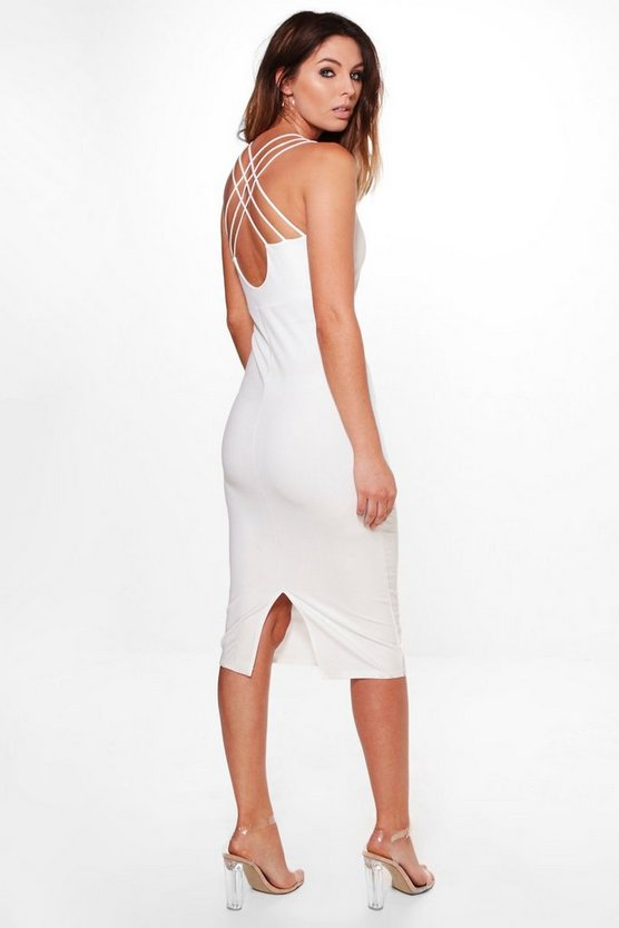 Womens Ivory Ray Strappy Back Detail Midi Dress
